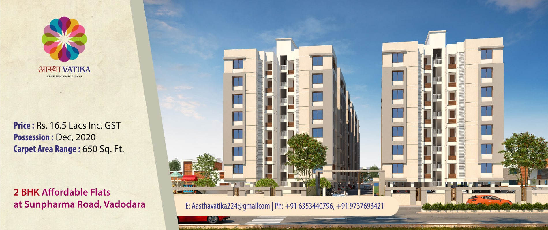 2 BHK Affordable Flats at Sunpharma Road Vadodara